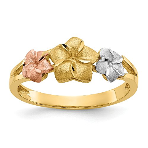 14k Tri Color Yellow White Gold Plumeria Band Ring Size 6.75 Flowers/leaf Fine Jewelry Gifts For Women For Her Designer Tri Color Ring