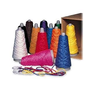 Pacon Trai-Tex Double Weight Yarn Cones, 2-Oz., 12 Assorted Color Cones, 1 Carton (00590)