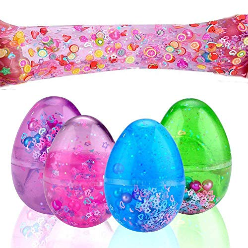 Sloueasy- Easter Eggs Putty fluffy Slime, Soft Scented Stres