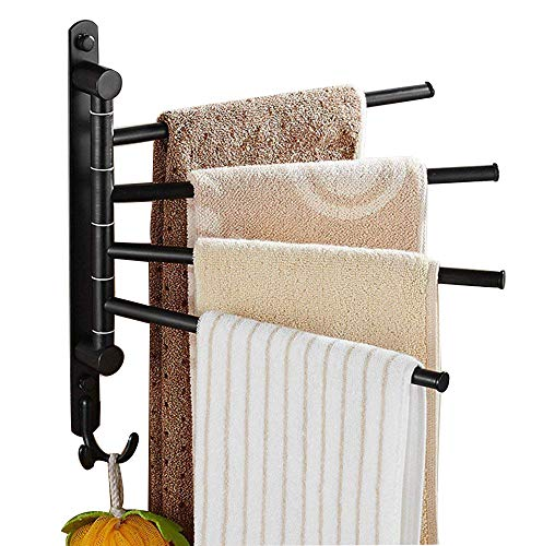 Ello&Allo Oil Rubbed Bronze Towel Bars for Bathroom Wall Mounted Swivel Towel Rack Holder with Hooks 4-Arm by Ello&Allo