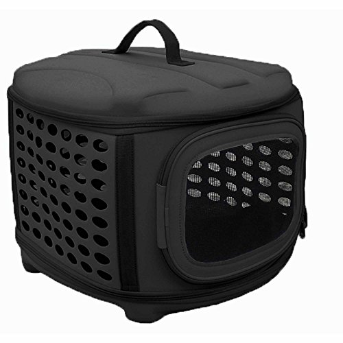 Circular Shelled Perforate Lightweight Collapsible Military Grade Transporter Pet Carrier  Charcoal Black  One Size