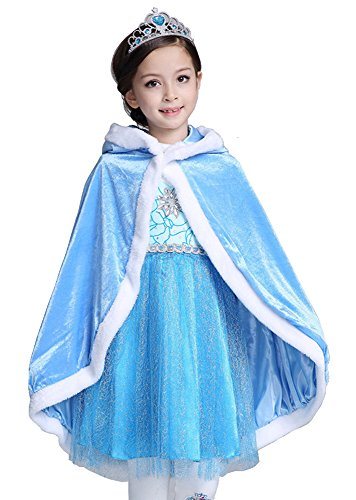 About Time Co Snow Princess Hooded Cape Cloak Costume ((150) 6-7 Years, Blue) ()