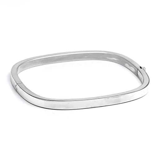 Silverly Women's .925 Sterling Silver 5 mm Round Hinged Stackable Bangle Bracelet r3Y7B4