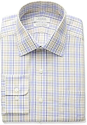Enro Men's Tailored Fit Non-Iron Cotton Plaid Dress Shirt
