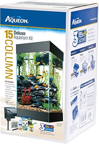 All Glass Aquarium AAG17004 15column Black Deluxe Kit by All Glass Aquariums