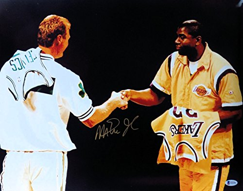 Magic Johnson Autographed 16X20 Photo Larry Bird Jersey Exchange Lakers Beckett - Autographed Larry Johnson Photo