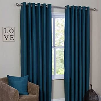 Faux Silk Lined Eyelet Curtains Teal Blue 229cm Width X 275cm Drop Amazoncouk Kitchen Home