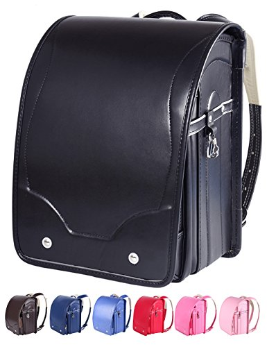 Randoseru Children Japanese School Bag for Boys and Girls,Satchel Bag A4 Clear File 7 Colors (BLACK) by M-MAX