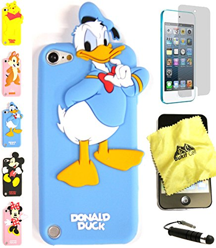 Bukit Cell ® 3D Cartoon Case Bundle - 4 items: ANIMATED DONALD DUCK Cute Silicone Case Cover for iPod Touch 6th/ 5th Generation + BUKIT CELL Trademark Cloth + Screen Protector + METALLIC Stylus Touch Pen