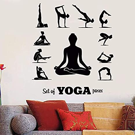 Posturas de yoga Tatuajes de pared Pose de centro de yoga ...
