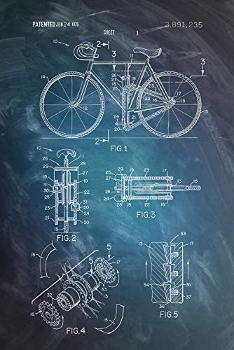 Close Up Póster Dibujo de Patente de Bicicleta 1975 [Dimensiones ...