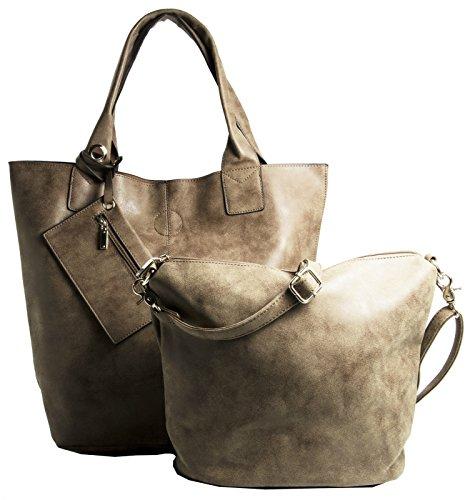 Big Handbag Shop 3-in - 1 Designer-Damen-Schultertasche, Kunstleder, und Make-up-Tasche Dunkelbraun