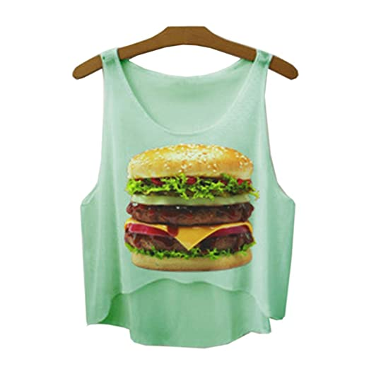 8101249decb6d Image Unavailable. Image not available for. Color  Women Fashion Hamburger  Print Light Green Sleeveless Crop Top