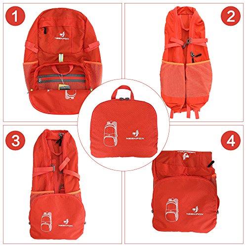 NEEKFOX Lightweight Packable Travel Hiking Backpack Daypack,35L Foldable Camping Backpack,Ultralight Outdoor Sport Backpack (03.Orange) by NEEKFOX (Image #6)