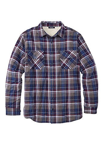 Kingsize Men's Big & Tall Flannel Sherpa Lined Shirt, Steel Plaid Big-4Xl