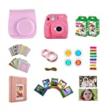 Fujifilm Instax Mini 9 Instant Camera - Flamingo Pink + Accessories Bundle Includes; Carrying Case, Acrylic Magnetic Picture Frames, Album, Selfie Lens, Frames and Stickers + More
