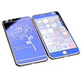 Dreams Mall(TM)Top Fashion Electroplating Mirror Effect with Rose Tempered Glass Screen Protector Film Decal Skin Sticker Front & Back for Apple iPhone 6 Plus/6S Plus 5.5 inch-Blue
