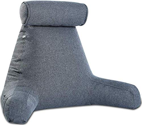 Reading Pillow- Shredded Memory Foam with Detachable Neck Roll Pillow – Bed Backrest Pillow with Arms & Pocket Support…