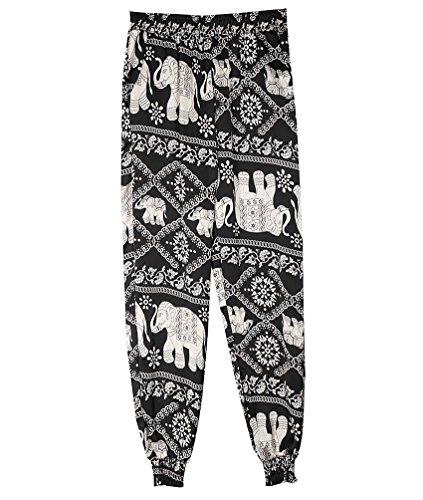 Donne Wanyang Larghi Nero Vita Confortevole Stampato Casuali Elefante Eleganti Pantalone Alta Palazzo Pantaloni amp; pfdxrRp