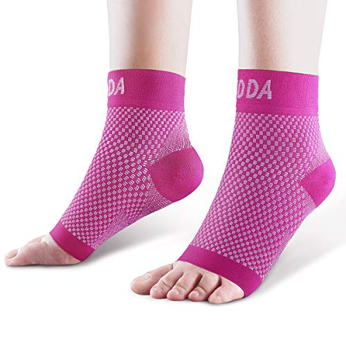 AVIDDA Ankle Brace for Men Women Pair Plantar Fasciitis Socks with Arch Support Compression Ankle Support Foot Sleeve for Achilles Tendon Support Swelling Eases Heel Pain Relief Pink L