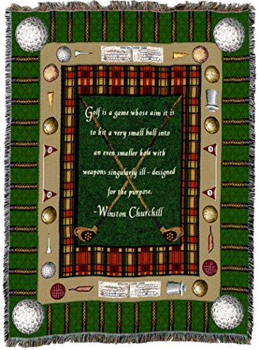 Pure Country Weavers | Churchill Golf Woven Tapestry Throw Blanket with Fringe Cotton USA 72x54
