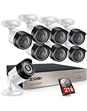 ZOSI Sistema de Seguridad 1080P CCTV Kit de Cámara Vigilancia Hogar 8CH HD 4-en-1 Grabador DVR + (8) Cámara Bala Exterior + 2TB Disco Duro, Visión Nocturna, Detección de Movimiento, Acceso Remoto