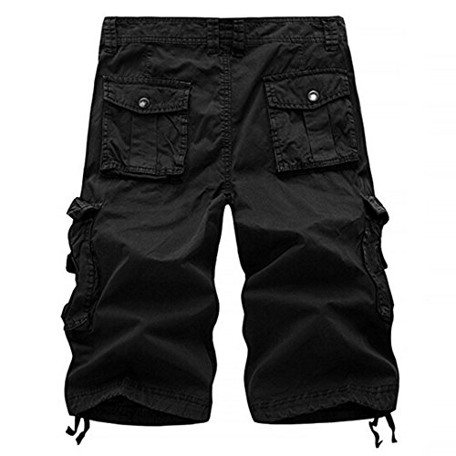 (WENSY Men's Casual Solid Color Outdoor Sports Pocket Beach Work Pants Goods Shorts Pants Overalls Casual Pants(Dark Gray,30))