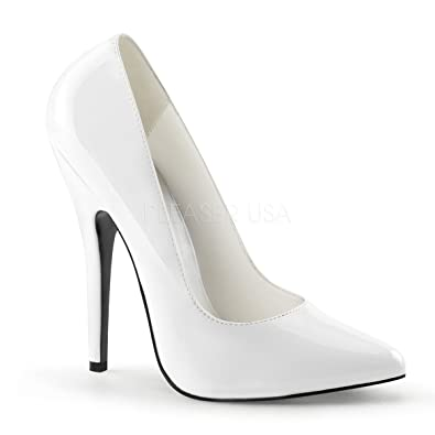 eefededea29f Pleaser Domina 420 white patent 6 inch high heels classic court shoes size  2UK