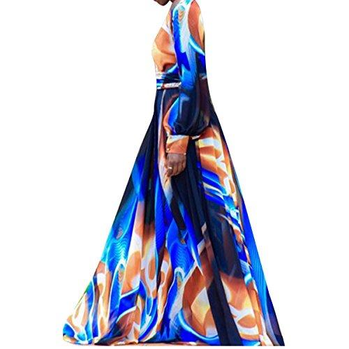 Las de L del Larga de Cintura Floral Longitud Gasa Manga Vestido Mujeres Cuello Lazo Piso del tamaño Largo de Gasa la la la de del la Azul Color de f1q5fTwX