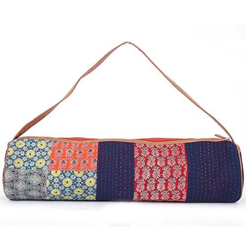 JaipurSe Premium Designer Artisan made Kantha Full-Zip Yoga Exercise Mat Carry Bag with Multi-Functional Storage Pockets