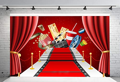 7x5ft Stage Lighting Red Carpet Photography Backdrop Pictorial Cloth Cinema Photo Background for Hollywood Party Decoration Photo Booth Studio Props SDJ-214