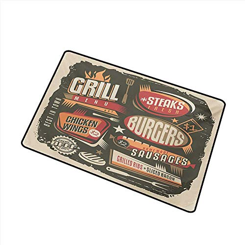 Pet Door mat BBQ Party Grill Menu Design with Steaks Burgers Wings Sausages Ribs and Bacon Retro Effect W24 xL35 Mildew -