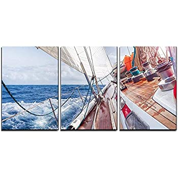 wall26 - 3 Piece Canvas Wall Art - Sail Boat Navigating on The Waves - Modern Home Decor Stretched and Framed Ready to Hang - 24
