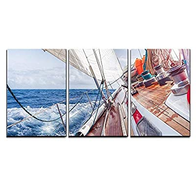 3 Piece Canvas Wall Art - Sail Boat Navigating on The Waves - Modern Home Art Stretched and Framed Ready to Hang - 16