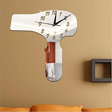 Amazon.com: LLLYZZ Living Room Furniture Decorative Wall Clock DIY Hair Dryer Mirror Stickers Clock Wall Clock: Home & Kitchen