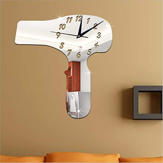 Amazon.com: LLLYZZ Living Room Furniture Decorative Wall Clock DIY Hair Dryer Mirror Stickers Clock Wall Clock: Home & Kitchen