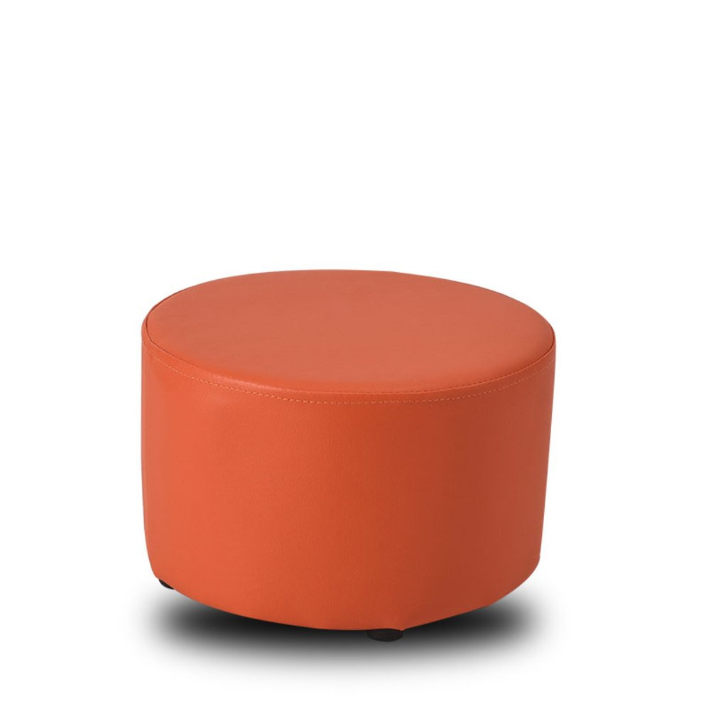 ✿Dreamer Small solid wood stool Changing shoes stool Living room Sofa stool Creative [child] Leather Ottoman-Orange 31x20cm(12x8inch)