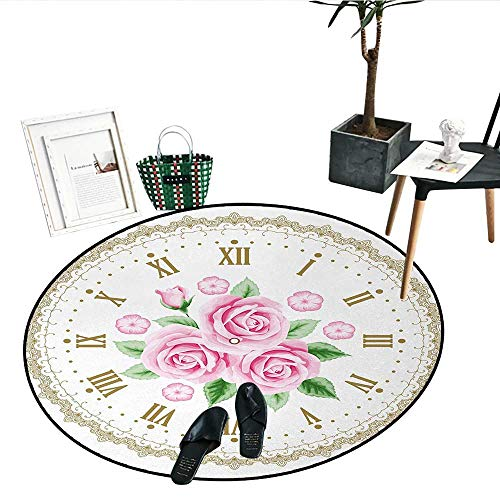 Shabby Chic Bathroom Round Area Rug Carpet Vintage Clock Face Roses Roman Numbers Antique Vintage Style Living Dinning Room Bedroom Rugs (36