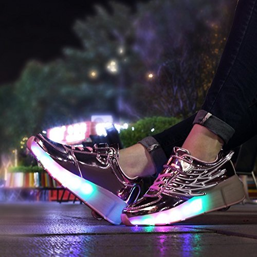 Tbbuy Unisex Zapatos para ni?os Led Light Sillas de ruedas Zapatos Zapatillas Ali Ruedas intermitentes Auto-p¨¢rrafo zapatos Deportes Zapatillas Inline Skate Single Trainer Rosado
