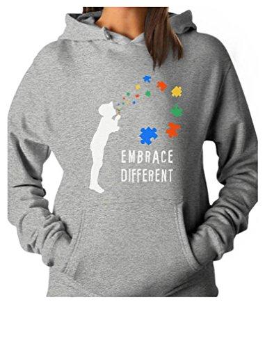 Tstars - Embrace Different - Autism Awareness Women Hoodie Large ()