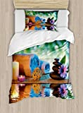 Lunarable Spa Duvet Cover Set Twin Size, Asian Culture Inspiration Chinese Japanese Candles Zen Meditation Stones, Decorative 2 Piece Bedding Set with 1 Pillow Sham, Green Orange Lavander