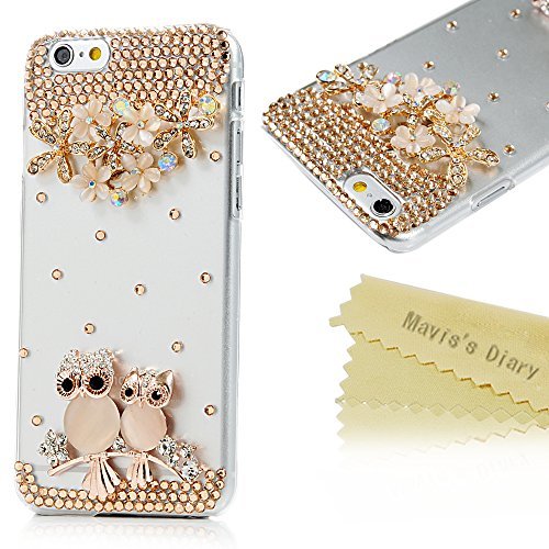 Iphone 6 Case,Iphone Case – Mavis's Diary 3D Handmade Bling Crystal Golden Owls Flowers and Branch with Shiny Glitter Sparkly Diamond Rhinestone Clear…