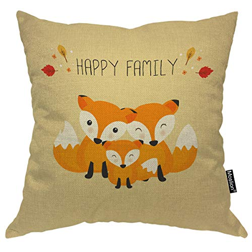 Moslion Fox Pillow Cover Cute Fox Family Happy Father's Day Autumn Leaves Throw Pillow Case 18x18 Inch Cotton Linen Canvas Square Cushion Decorative Cover for Sofa Bed