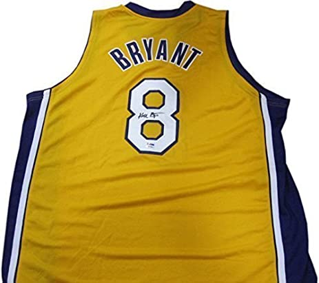 ... Authentic Los Angeles Lakers Jersey Signed by Kobe Bryant Kobe Bryant  Hand-Signed 8 Full Signature LA Lakers Yellow Jersey PSA DNA ... a5b56e3a3