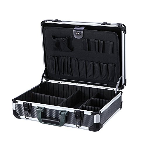 "Aluminum Hard Tool Box With Diced Foam Insert to Protect Your Equipment , Home Organization with Daily use Tools,Includes Screwdrivers, Pliers, Wrenches , 17.7 x 13 x 5.9"" Inches"