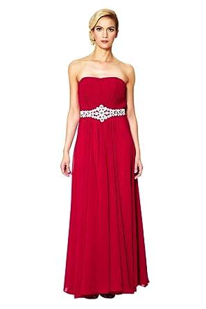 Long Bandeau Evening Dress Elegant Strapless Gowns Classic Chiffon