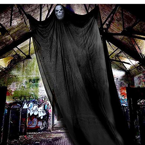 LUDILO 16.5ft Halloween Decorations Ghost Halloween Hanging Props Scary Hanging Ghost Props Halloween Hanging Decorations for Outdoor Indoor Home Yard Balcony Deck (Black)