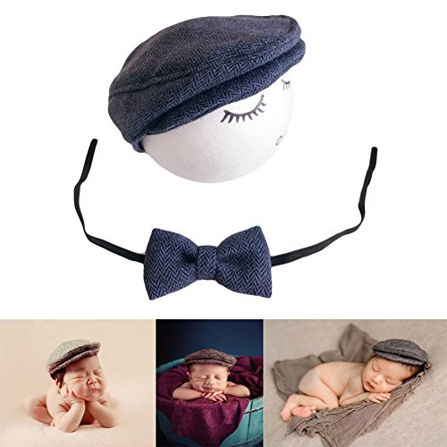 Zeroest Baby Photography Props Monthly Boy Photo Shoot Outfits Infant Flat Cap Gentleman Hat Bowtie (Navy Blue)