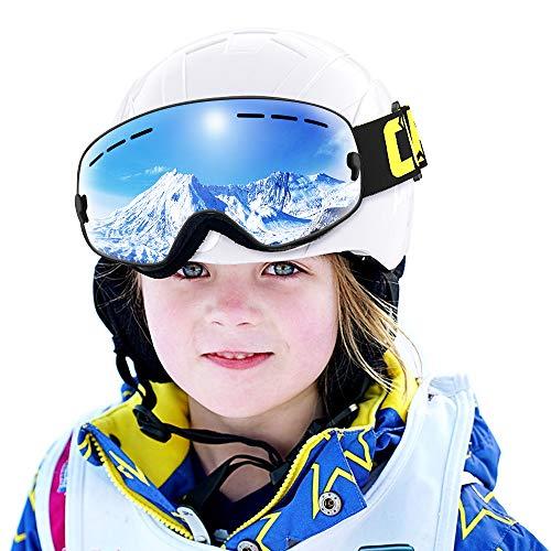 COPOZZ Kids Ski Goggles, G3 Kids Snow Snowboard Goggles - Helmet Compatible Over Glasses OTG Design Non-Slip Strap UV Protection for Children Youth Boys Girls (Black-Silver (VLT 10.1%))