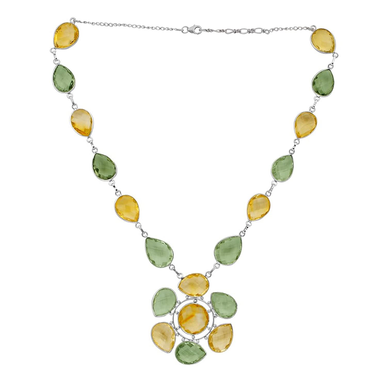 130 Ct Citrine Green Amethyst Solid Sterling Silver Natural Golden Orange 13ct Statement Necklace Jewelry